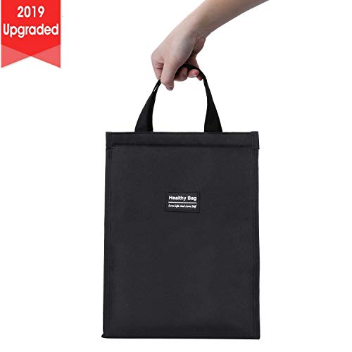 Lunch Bag with Zipper, NovoLido Upgraded Insulated Black Lunch Bag with Stylish Logo, Foldable and Wide Open Reusable Waterproof Oxford Cloth Portable Lunch Tote Bag for Office Picnic (9.3x5.9x10.6'')
