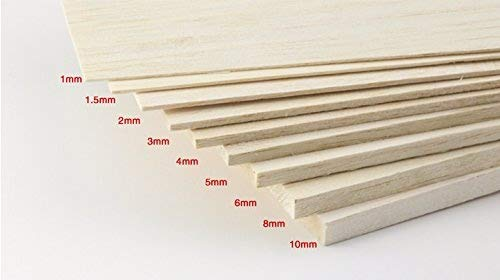 AAA+ Balsa Wood Sheet Special for RC airplane and Boat Model DIY Balsa Wood Sheet pieces 500mm(long) 100(wide)mm and 1.0/1.5/2.0/ 3.0/ 4.0/ 5.0/ 6.0/ 8.0/ 10.0mm (Thickness) (LS-QM-10-001) ()