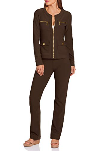 Beyond Travel Women's Chic Activewear Knit Set Safari Brown X Large