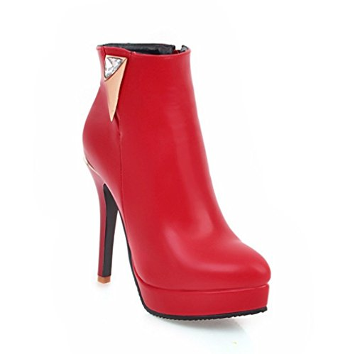 Heeled High Boots Fine Sexy Short Heel Simple Red 54xSzPwq