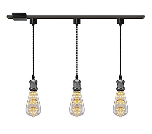 - Kiven 1-Light H System Track Mini Pendant, Pearl Black Finish Lamp Holder Fitting Track Light Kit, Rose Pendant Braided Fabric Flex Cord Length 15.75 in,TB0123-40CM