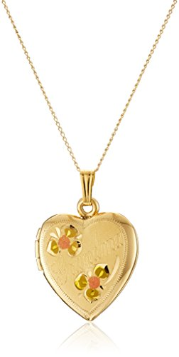 "14k Yellow Gold-Filled Tricolor ""Grandma"" Heart Locket Pendant Necklace, 18"""