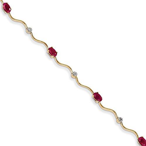 14k Yellow Gold Diamond & Rubies Fancy Diamond & Ruby Bracelet (Color H-I, Clarity ()