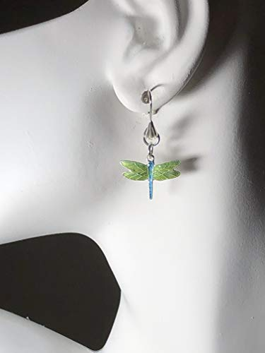 (Green Enamel Cloisonne Dragonfly Sterling Silver Dangle Earrings )