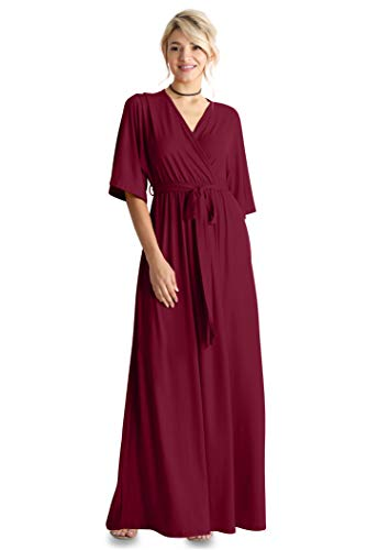 Flowy Long Maxi Wrap Dresses for Women with Tie Belt Plus Size and Reg. - Made in USA (Size X-Large US 12-14, Burgundy)