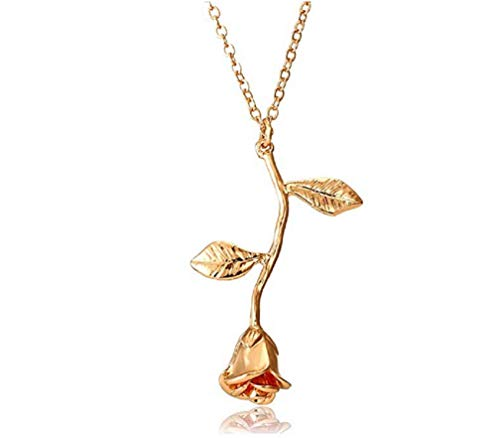Sunloudy Women Rose Necklace 18K Gold Flower Pendant Necklace Vintage Silver Necklace(Gold)
