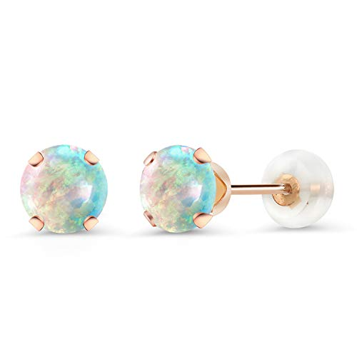Gem Stone King 1.00 Ct Round Cabochon 5mm White Simulated Opal 10K Rose Gold Stud - Earrings Cabochon White
