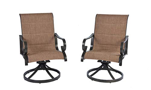 Pebble Lane Living Set of 6 Outdoor Aluminum Padded Swivel Sling Patio Dining Chairs with arms- Bronze