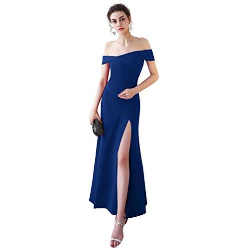 Abendkleider Linie für Damen mit 36 V Bodenlang Dehnbar A Burgund Ausschnitt Elasthan Elegantes Schlitz Ballkleier Rosa Langes OFwqH6t0R