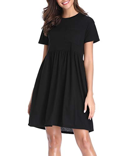 (Women's Casual Short Sleeve Sun Summer Swing Dress Baby Doll Empire Skater Midi T Shirt Dress with Pockets )