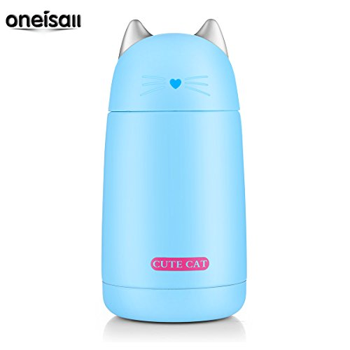 ONEISALL SB60239 330ML Cute Cat Thermos Mug, Drinkware Kids Water Bottle, leak-proof Cat Tumbler (Blue) (Soup Kids Mug)