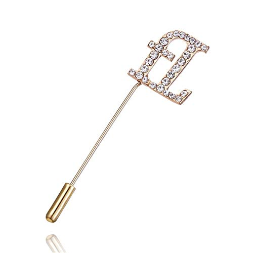 - AILUOR A to Z Initial 26 English Letters Brooch Pin, Silver Plated Metal Clear AAA+ Crystal Suit Lapel Pin Brooches Collar Custom Monogram Letter Pins Jewelry Unisex (A)