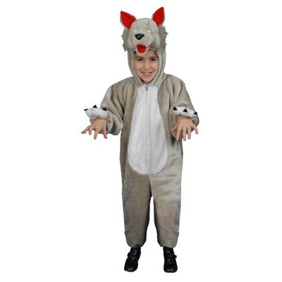 Dress Up America Kids Plush Wolf Costume, Gray, -