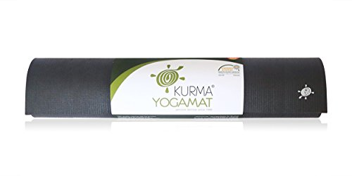 Extra Long Professional Yoga Mat by Kurma, No Slip Grip, Non Toxic, Ashtanga Approved (Black 80 x 30) For Sale