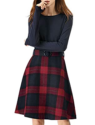 Allegra K Women's Round Neck A-Lined Belted Plaids Color Block Dress