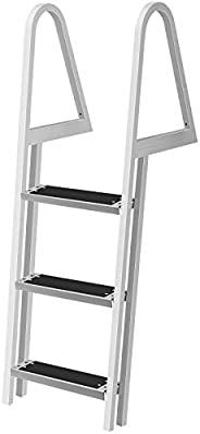 VEVOR Removable Dock Ladder with Rubber Mat, Pontoon Boat Ladder with Mounting Hardware, Swim Ladder Aluminum,