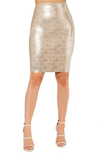 Wow Couture Women's Basic Glitter Metallic Bandage Pencil Skirt (Metallic Gold, -