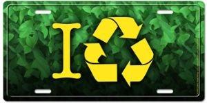 Decorative License Plate Creare Visual Design nat003 I Recycle