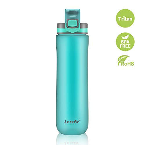 Letsfit Water Bottle, BPA-Free Sports Water Bottle Leak Proof Flip Top Lid, Tritan Non-Toxic Co-Polyester Plastic 21oz Travel Bottle w/Carry Loop Camping Hiking Bicycle Gym Outdoor Sports