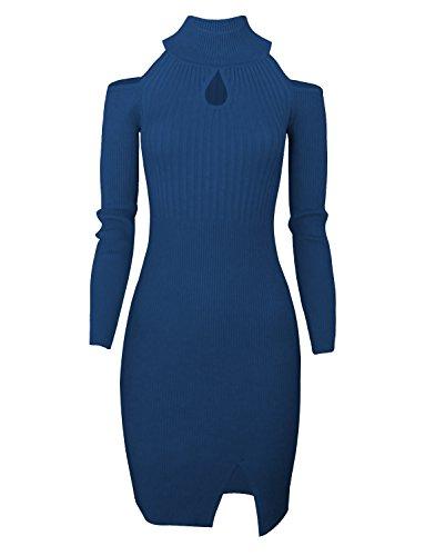 - Tom's Ware Women Casual Slim Fit Knit Front Keyhole Sweater Bodycon Dress TWCWD076-DBLUE-US S