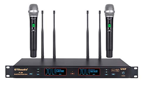 GTD Audio 2x100 Channel UHF Diversity Wireless Hand-held Microphone Karaoke Mic System F-36 (2 Hand held mics)
