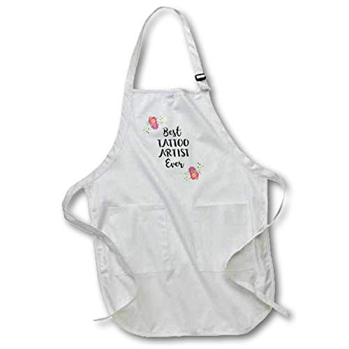 3dRose InspirationzStore - Love Series - Floral Best Tattoo Artist Ever Watercolor Pink Flowers Tattooist Gift - Black Full Length Apron with Pockets 22w x 30l (apr_317290_4)
