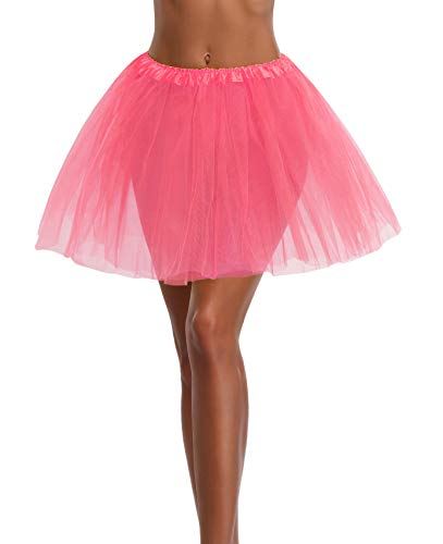 v28 Women's, Teen, Adult Classic Elastic 3, 4, 5 Layered Tulle Tutu Skirt (One Size, Peach 3Layer)