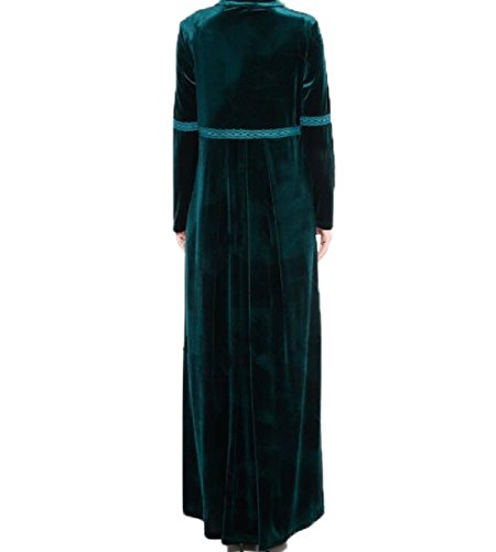 Coolred-femmes Musulmanes Abaya Vogue Velours Maxi Robe Solide De Couleur Ample Vert Noirâtre