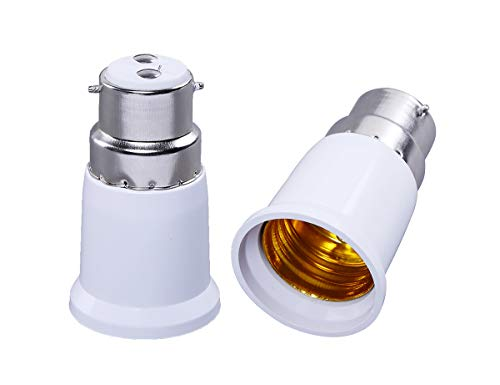 SHAFIRE B22 TO E27 Bulb convertor,Converter Holder Set of 2 (White)