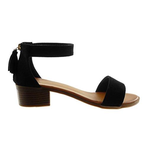 Angkorly Women's Fashion Shoes Sandals - Ankle Strap - Pom Pom - Fringe - Thong Block High Heel 4 cm Black x6NZsszm