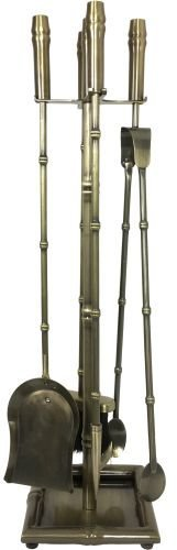 - Dagan 4500 Bamboo Design Antique Brass 5 Piece Fireset