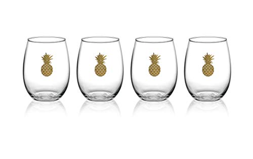 (Luminarc P0134 17 Ounce Aloha Gold Pineapple Stemless Wine Glass, Set of 4, 1 Clear)