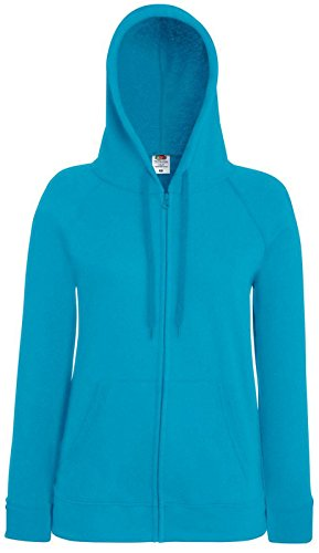 Fruit of the Loom Sudadera con capucha ligera, casual, para mujer Azure Blue