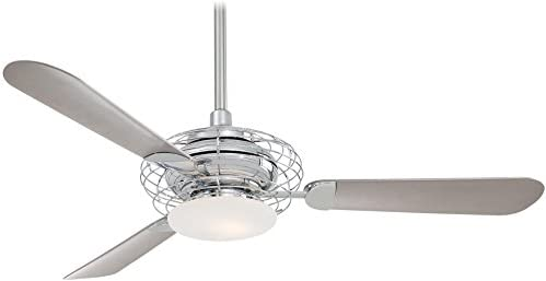 Minka-Aire F601-PN Downrod Mount, 3 Silver Pewter Blades Ceiling fan with 69 watts light, Polished Nickel