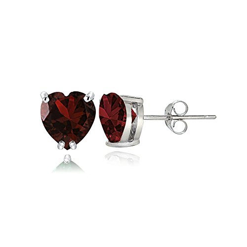 Sterling Silver Garnet 5mm Heart Stud Earrings