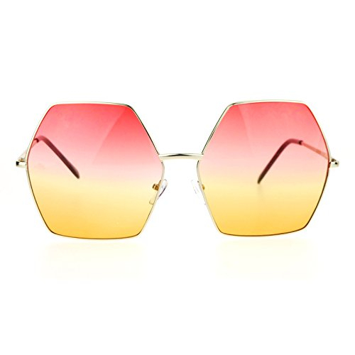 2ddcc5a14f9 Amazon.com  SA106 Gradient Color Lens Oversized Octagon Retro Hippie Groove  Sunglasses Blue Yellow  Clothing