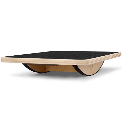 Yes4All Rocker Wooden Balance Board - Ideal for Flexibility & Stability Training - Rocker Board/Wobble Board (Black)