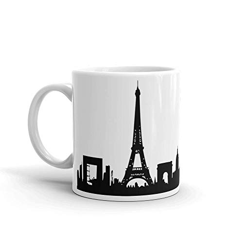 City of Paris - Coffee Mug (11oz or 15oz)   Black and White Cityscape Collection   Modern Designer Home and Office Decor ()