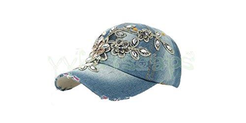 ylovego New Spring New Shiny Fashion Women Diamond Flower Baseball Cap Lady Rhinestone Jean Hats Summer Style Sunhats YY6020 C4 Jean Diamond -