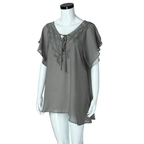 V Classique Grau Chemisier Costume Cou Femme Large Manches Mousseline Mode Tops Casual Dentelle Fleur Oversize lgant Et Manche Blouse Mince Chic Courtes Uni Blouse wvwqAR
