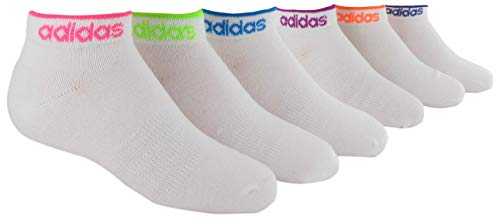 adidas Youth Kids-Girls Superlite Low Cut Socks (6 Pair), White/Solar Pink/Solar Green/Solar Blue/Vivid Pink, Large, (Shoe Size 3Y-9)