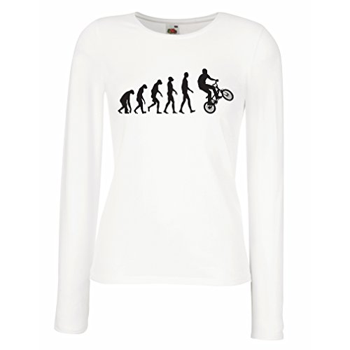 (T Shirt Women Human Evolution and Bike - Bicycling – Bicycle Accessories, Cycling Apparel (Large White Multi Color))