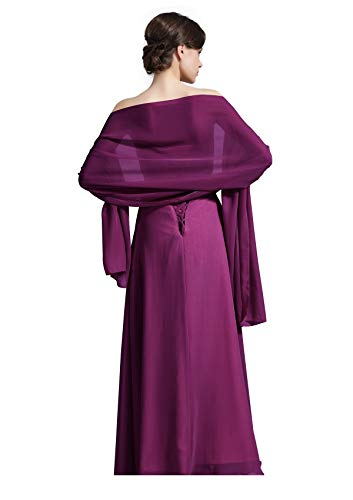 Sheer Soft Chiffon Bridal Women's Shawl For Special Occasions Grape ()