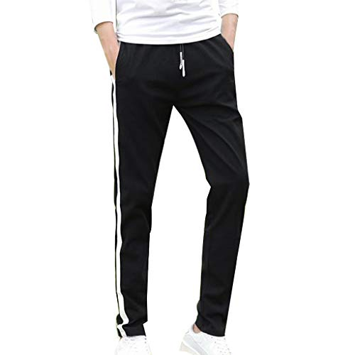 Allywit Men Solid Cotton Straight Pocket Elastic Drawstring Trousers Long Pants Plus Size by Allywit-Pants (Image #7)