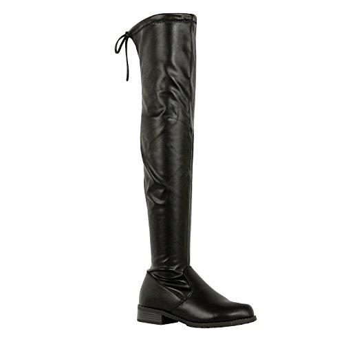 Guilty Schuhe Damen Komfortable Pull Up Low Block Ferse Geschlossene Zehe Stiefel - Overknee Oberschenkel Hohe Stiefel Schwarz Pu