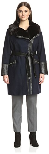 - Via Spiga Plus Women's Faux Fur Collar Coat with Faux Leather Trim, Navy, 16 US