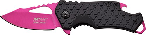MTech USA MT-A882PK Spring Assist Folding Knife Pink Blade Black Handle 3-Inch Closed