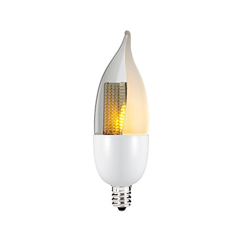 Euri Lighting ECA9.5-1120f LED CA9.5 Animated Flame Bulb, Decorative Line, Warm White 2200K, Non-Dim, 1W (10W Equivalent), 50 lm, 120 Degree Beam Angle, UL-Listed, Frosted Lens