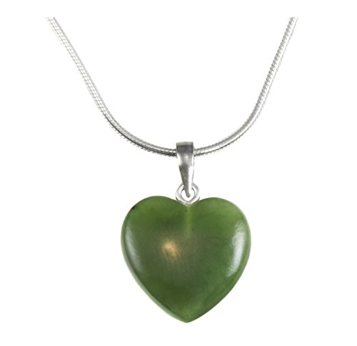 Sterling Silver Jade Necklace Green Nephrite Smooth Heart Pendant Small Simple 18 Inch Snake Chain