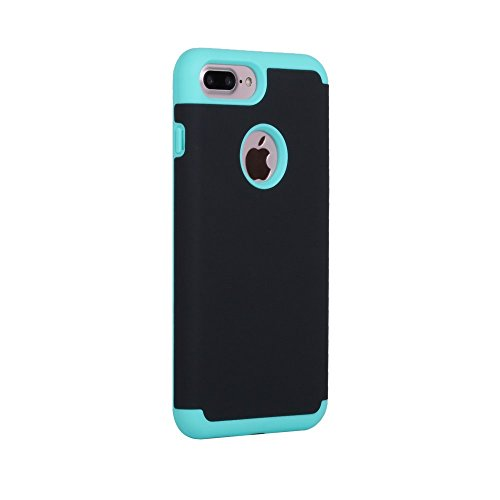 Rubberized Plastic + TPU Shock Protection Tasche Hüllen Schutzhülle Case für iPhone 7 Plus - baby blau / Black